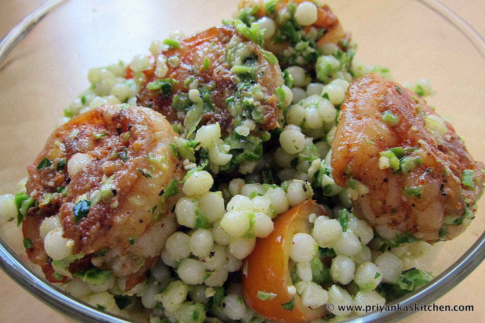 Cous Cous Salad with Asparagus Pesto and Shrimp | Priyanka's Kitchen